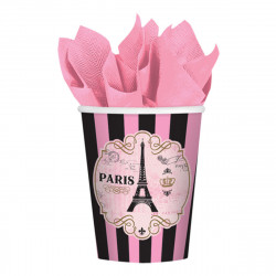 Amscan - A Day in Paris Birthday Party 9oz Paper Beverage Cups, 8 Cups