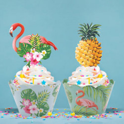 Unique - Paper Flamingo Pineapple Cake Toppers + Cupcake Wrappers DIY Party