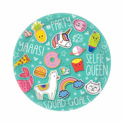 Amscan - Selfie Celebration Paper Plates Party Tableware Unicorn Pizza Emoji Birthday
