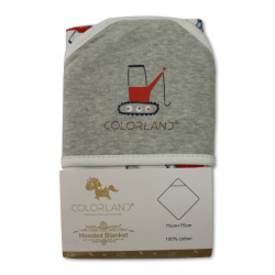 Colorland Dylan Baby Hooded Blanket - The Excavator Family 1 Pc Per Pack