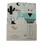 Colorland Baby Swaddle Blanket Wrap With Zipping 2x Pack - Black Opuntia