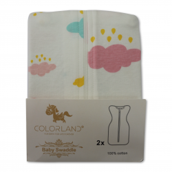 Colorland Baby Swaddle Blanket Wrap With Zipping 2x Pack - Romantic Bicycle