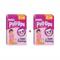 Huggies Pull-Ups Girls Size S (8-15kg) 16 Pants Pack X2 (Made in Britain)