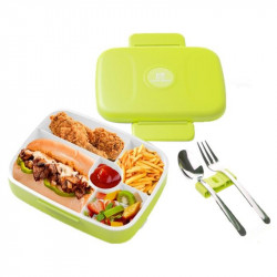 Look Back - Double Wall 5 Compartments With Cutlery, Green