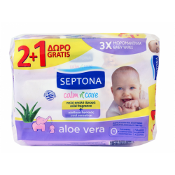 Septona Baby Wipes with Organic Aloe Vera Baby Wipes, 2 + 1 Gift, 3 * 64pcs