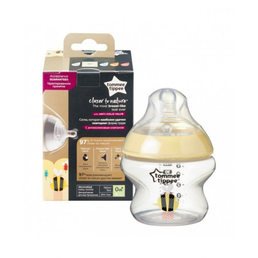 Tommee Tippee Closer to Nature X1,150 ml, Unisex Decorated Bottle, Bee