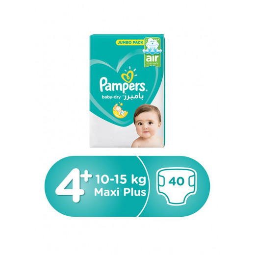 Pampers Baby-Dry Diapers, Size 4+, Maxi+, 10-15kg, Jumbo Pack, 40 Count