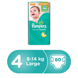 Pampers Baby-Dry Diapers, Size 4, 8-14 kg 60 Count