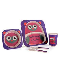 Bamboo Fiber Kids Feeding Set, Eco Friendly, Toxic Free, Purple Owl