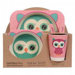 Bamboo Fiber Kids Feeding Set, Eco Friendly, Toxic Free, Pink Owl