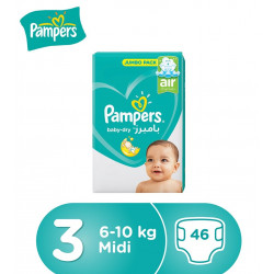 Pampers Baby-Dry Diapers, Size 3, Midi, 6-10 kg, Jumbo Pack, 46 Count
