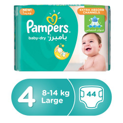 Pampers Baby-Dry Diapers, Size 4, Large, 8-14 kg, Value Pack, 44 Count