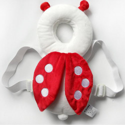 JJ Ovce Baby Head Protector, White Ladybug