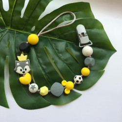 Munch Monsters Teething Holder with Yellow, Grey Beads, Pacifier Clip