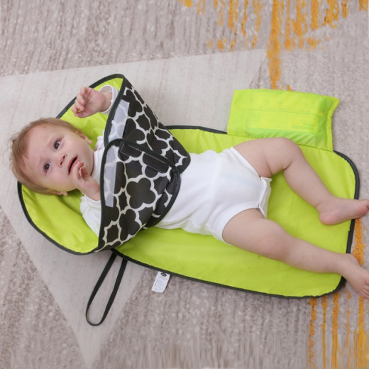 Jatino Portable Waterproof Diaper Changing Mat, Grey and Lime