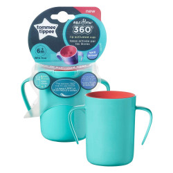 Tommee Tippee Easi-Flow 360 Handled Cup, Green or Pink