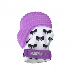 Munch Mitt Teething Mitten, Purple Bows