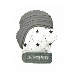 Munch Mitt Teething Mitten, Gray Stars