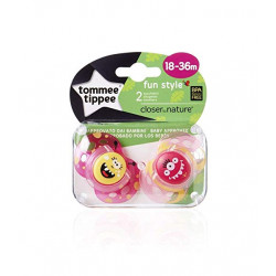 Tommee Tippee Closer to Nature Fun Pacifier, 18-36 Months, 2 Count Girl