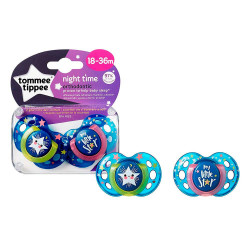 Tommee Tippee Orthodontic Pacifiers Night 18-36 months, 2 pieces