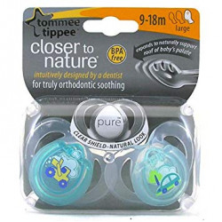 Tommee Tippee Closer To Nature Pure Air Orthadontic Soother, 9-18 months X2