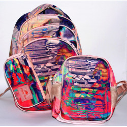 Glossy Bird Set of School Backpack with Orthopedic Back, Colorful Model, 45 cm