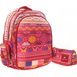 Glossy Bird Set of School Backpack with Orthopedic Back, Pink with Patterns, 45 cm