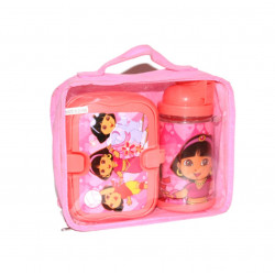 Set of Lunch Box and Water Bottle, Pink, Dora