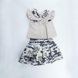 Baby Girl Clothes Set, 2 Pieces, Beige and Navy Blue