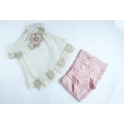 Baby Girl Clothes Set, 3 Pieces, Beige and Baby Pink