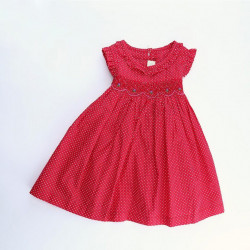 Baby Girl Red Dress with White Dots
