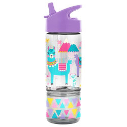 Stephen Joseph Flip Top Bottles With Snack Container - Llam
