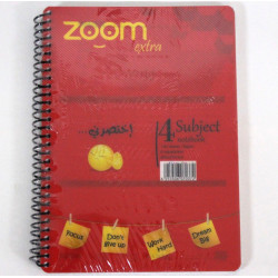 Hajeer Zoom Wire Notebook, 4 Subjects, Red