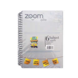 Hajeer Zoom Wire Notebook, 6 Subjects, Grey
