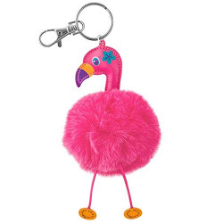 Stephen Joseph Pom Pom Critter Key Chains Flamingo