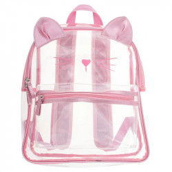 Stephen Joseph Clear Iridescent Backpack Cat 34 cm