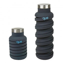 Que Collapsible Water Bottle, Metallic Charcoal, 590 ml