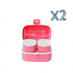 Look Back Lunch Box for Kids Adults, One layer and Two Small Compartments, Leak Proof X2 Pink Boxes