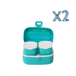 Look Back Lunch Box for Kids Adults, One layer and Two Small Compartments, Leak Proof X2 Blue Boxes