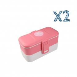 Look Back Lunch Box for Kids Adults, 2 layers, Leak Proof, FDA Approved, Pink X2 Boxes
