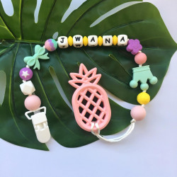 Munch Monsters Customized Baby Name Teething Holder, Teether Clip, Pink Pineapple