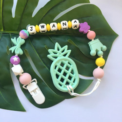 Munch Monsters Customized Baby Name Teething Holder, Teether Clip, Green Pineapple