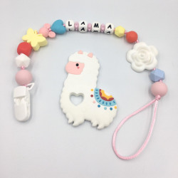 Munch Monsters Customized Baby Name Teething Holder, Teether Clip, Colorful Sheep