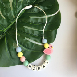 Munch Monsters Colorful Customized Name Teething Necklace with Pink Flamingo