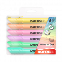 Kores Highlighters Set of 6 Colors / Pastel