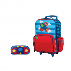 Stephen Joseph Sidekicks Rolling Backpack And Pencil Pouch Airplane