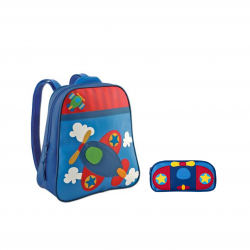 Stephen Joseph Sidekicks Rolling Go Go Bag And Pencil Pouch Airplane