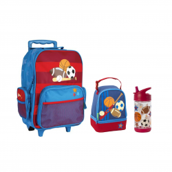 Stephen Joseph Rolling Backpack And Lunch Pals And Flip Top Bottles - Sports