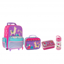 Stephen Joseph Rolling Backpack 45 cm And Lunchbox 19 cm And Bento Box And Flip Top Bottle Llama