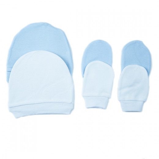 Bibaby Baby Hat and Mittens, White or Blue